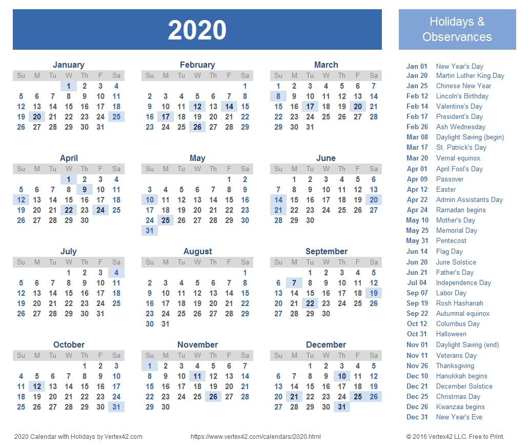 2020 Calendar Templates And Images-Printable 2020 Calendar Showing Holidays
