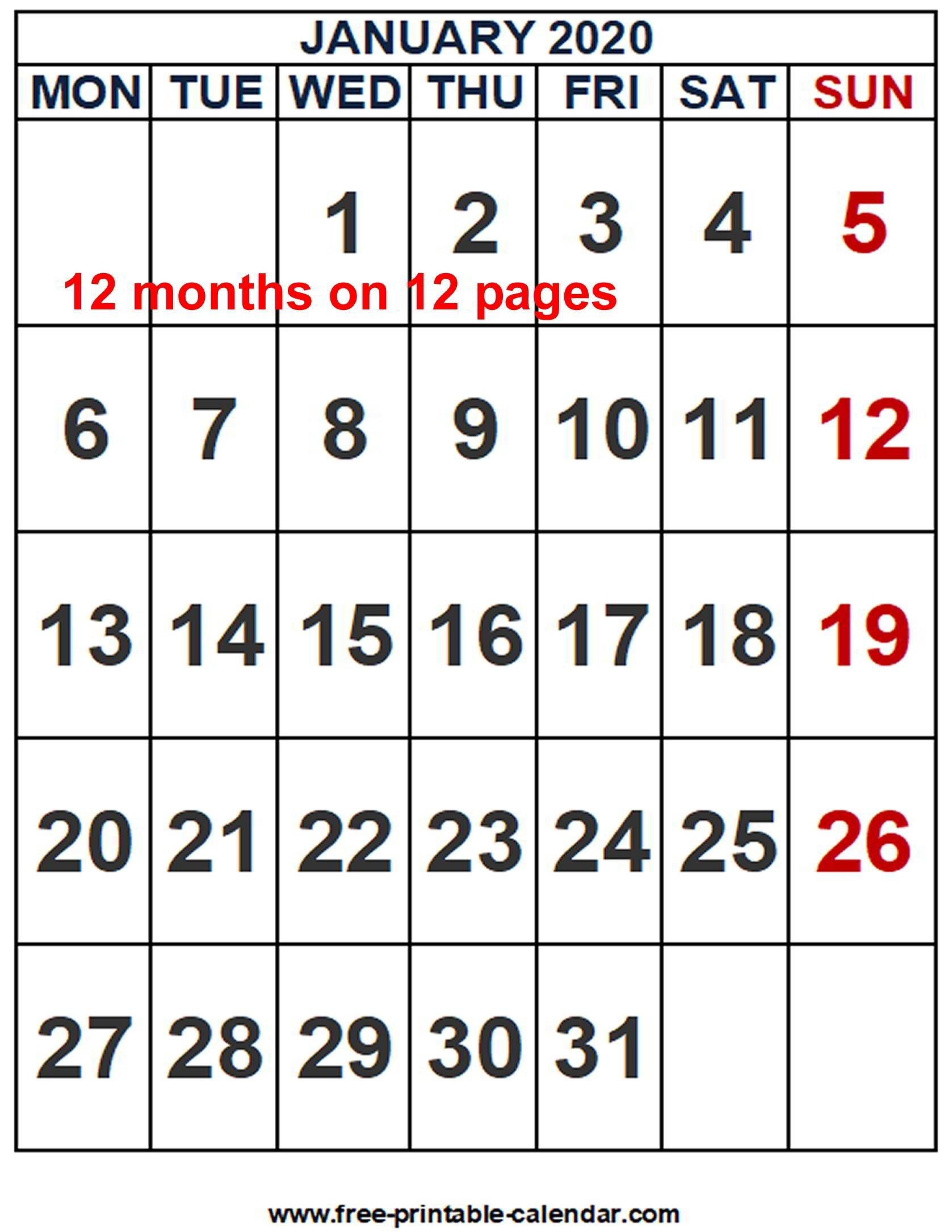 2020 Calendar Word Template - Free-Printable-Calendar-Microsoft Word 2020 Calendar Template
