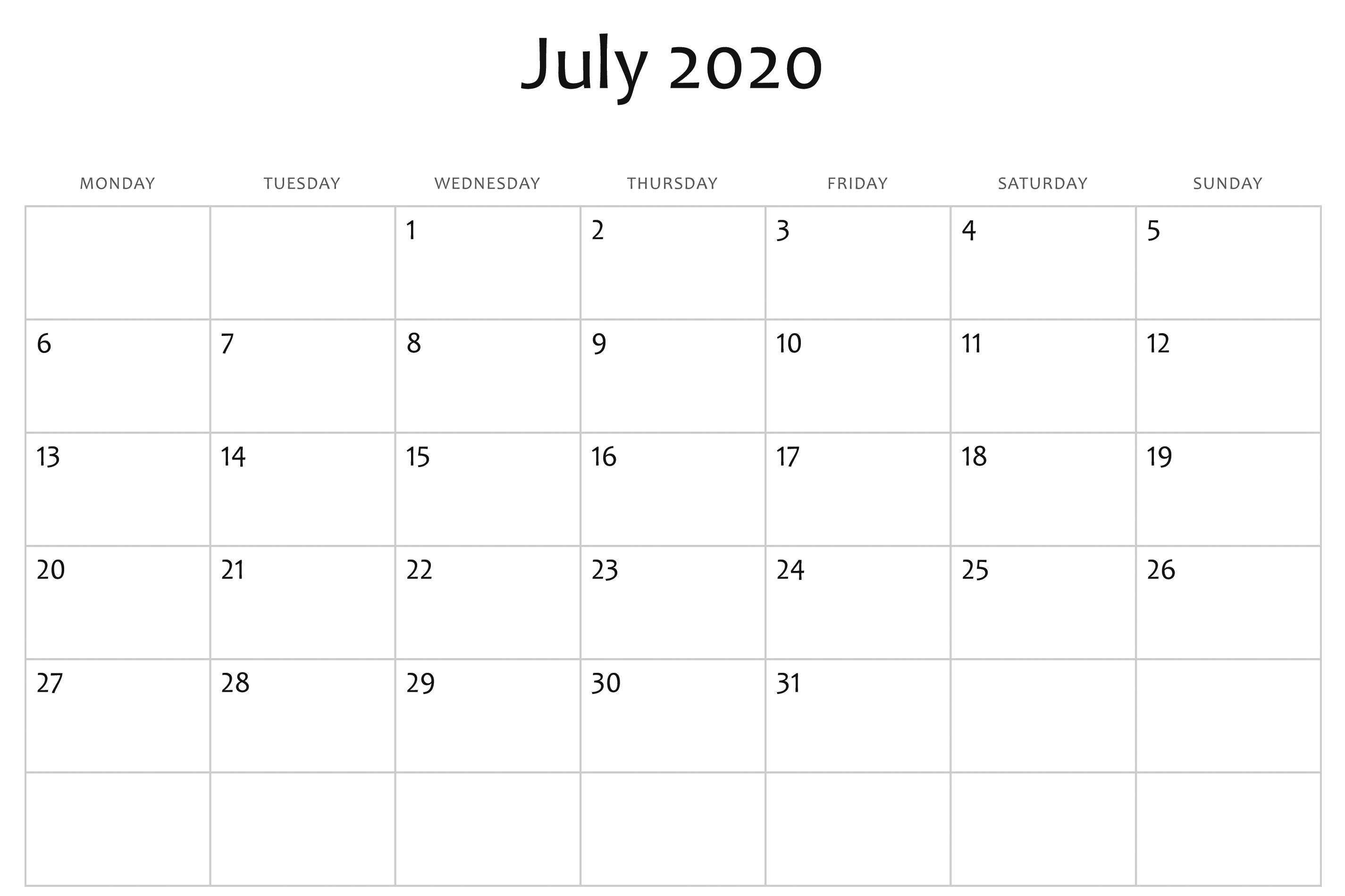 2020 Calendar Word Template - Wpa.wpart.co-Microsoft Word Template 2020 Calendar