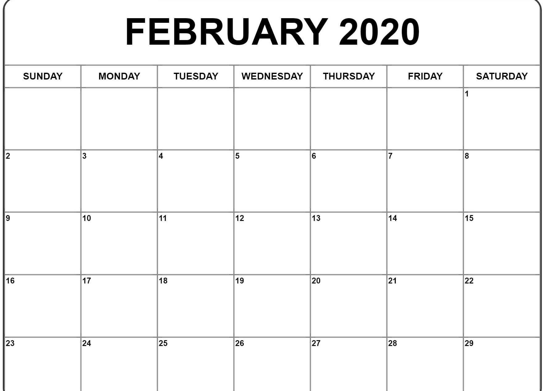 2020 Editable February Calendar Word | February Calendar-2020 Calendar Template Fillable Pdf