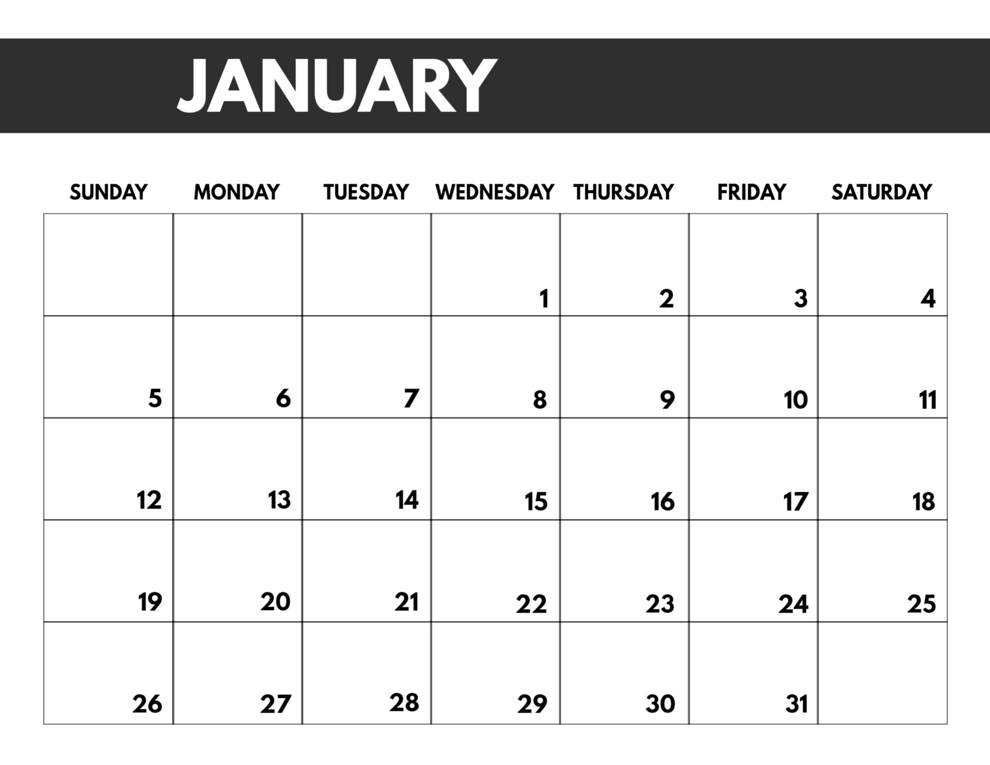 2020 Free Monthly Calendar Template - Paper Trail Design-8.5 X 11 Calendar Template