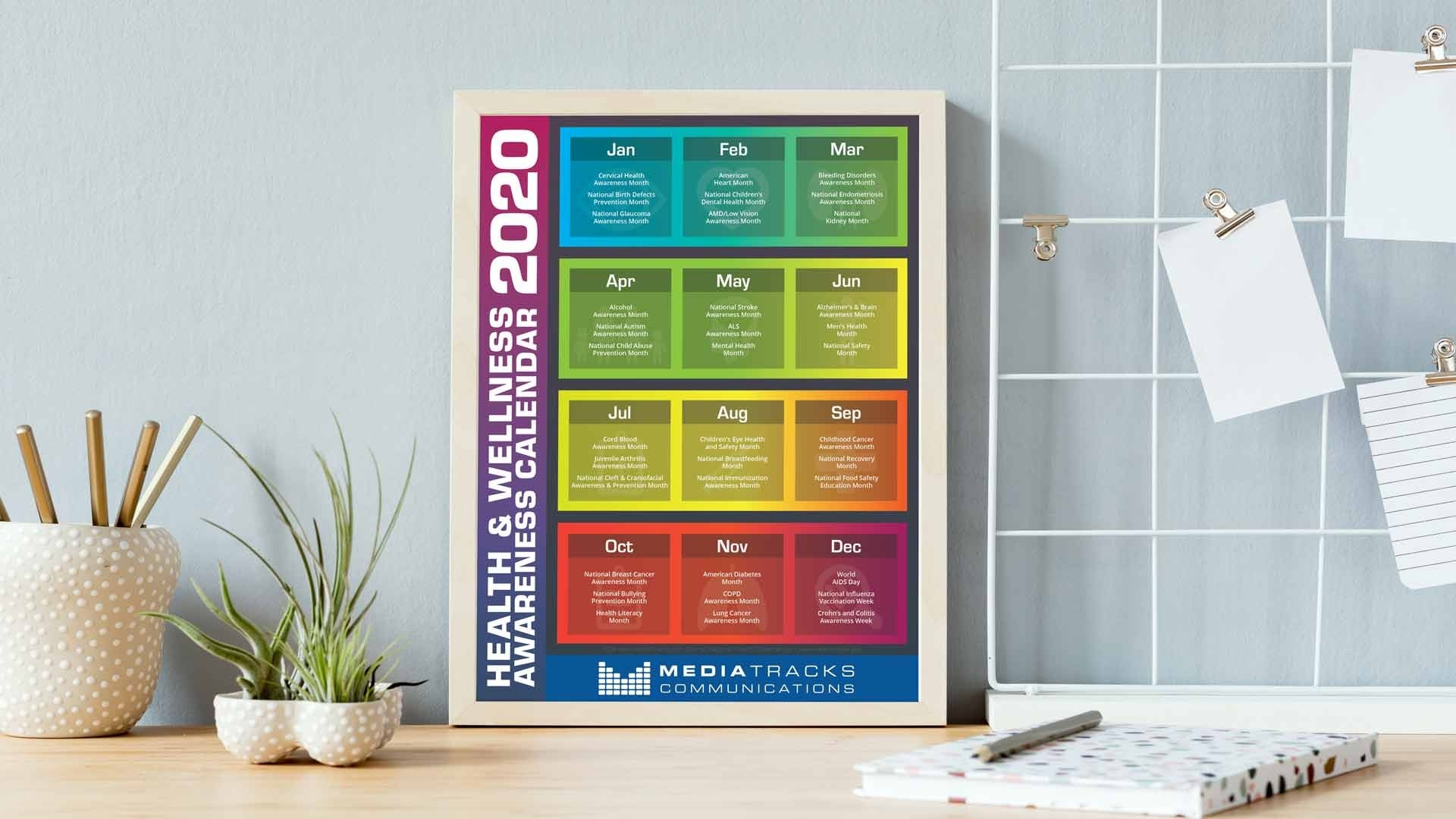 2020 Health & Wellness Awareness Calendar [Infographic-Monthly Wellness Topics 2020