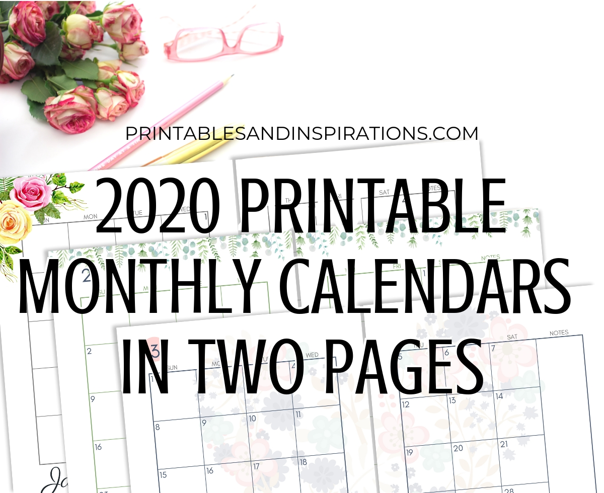 2020 Monthly Calendar Two Page Spread – Free Printable-Monthly Print Calendars Templates 2020 Multiple Months Per Page