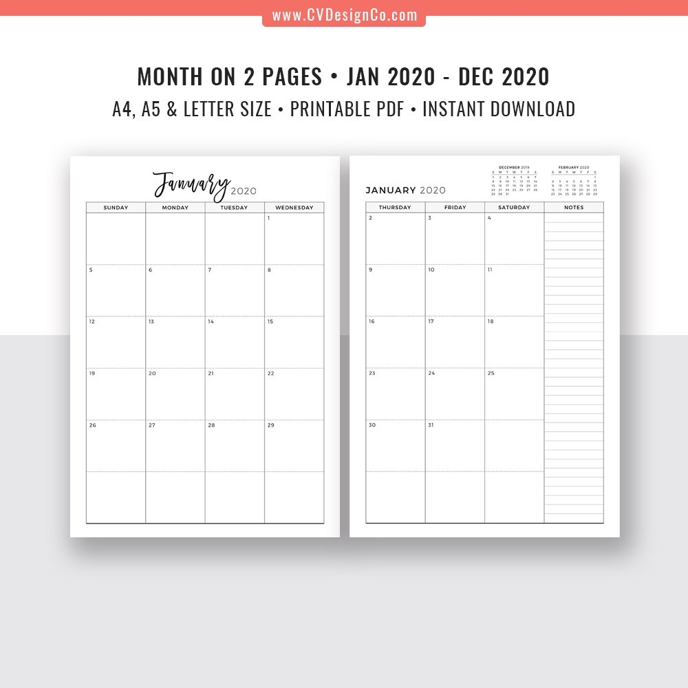 2020 Monthly Planner, 12 Month Calendar, Monthly Organizer, Month On 2  Pages, Printable Planner Inserts, Best Planner, Filofax A5, A4, Letter Size-2020 2 Page Monthly Calendar Printable Pdf