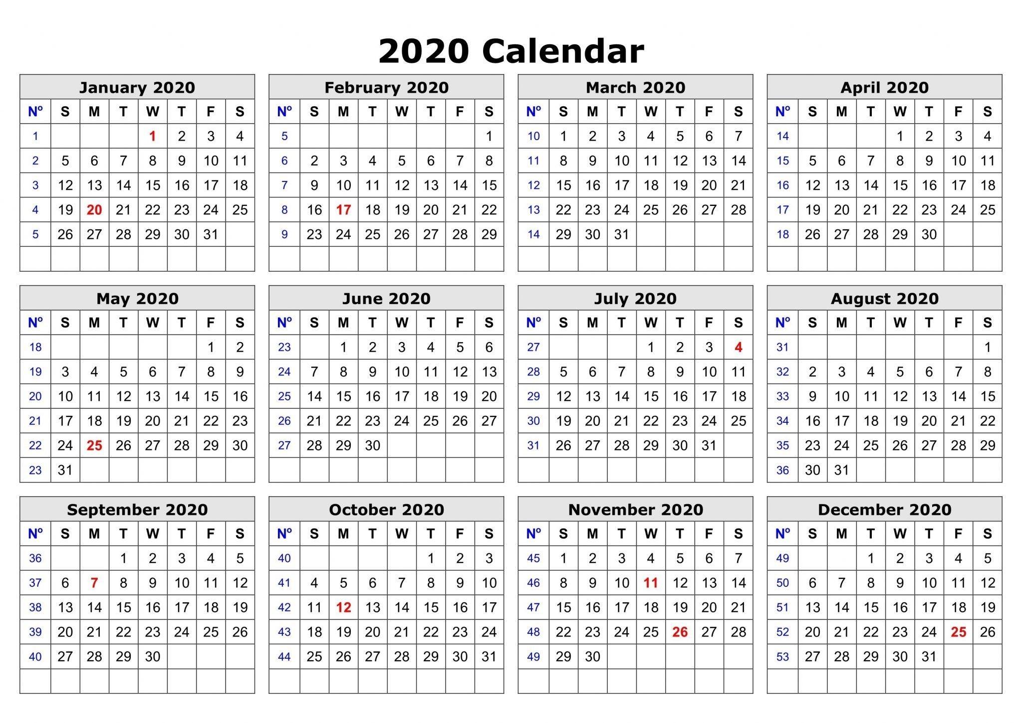 2020 Printable Calendar | Printable Calendar Template, Free-Microsoft Word Template 2020 Calendar