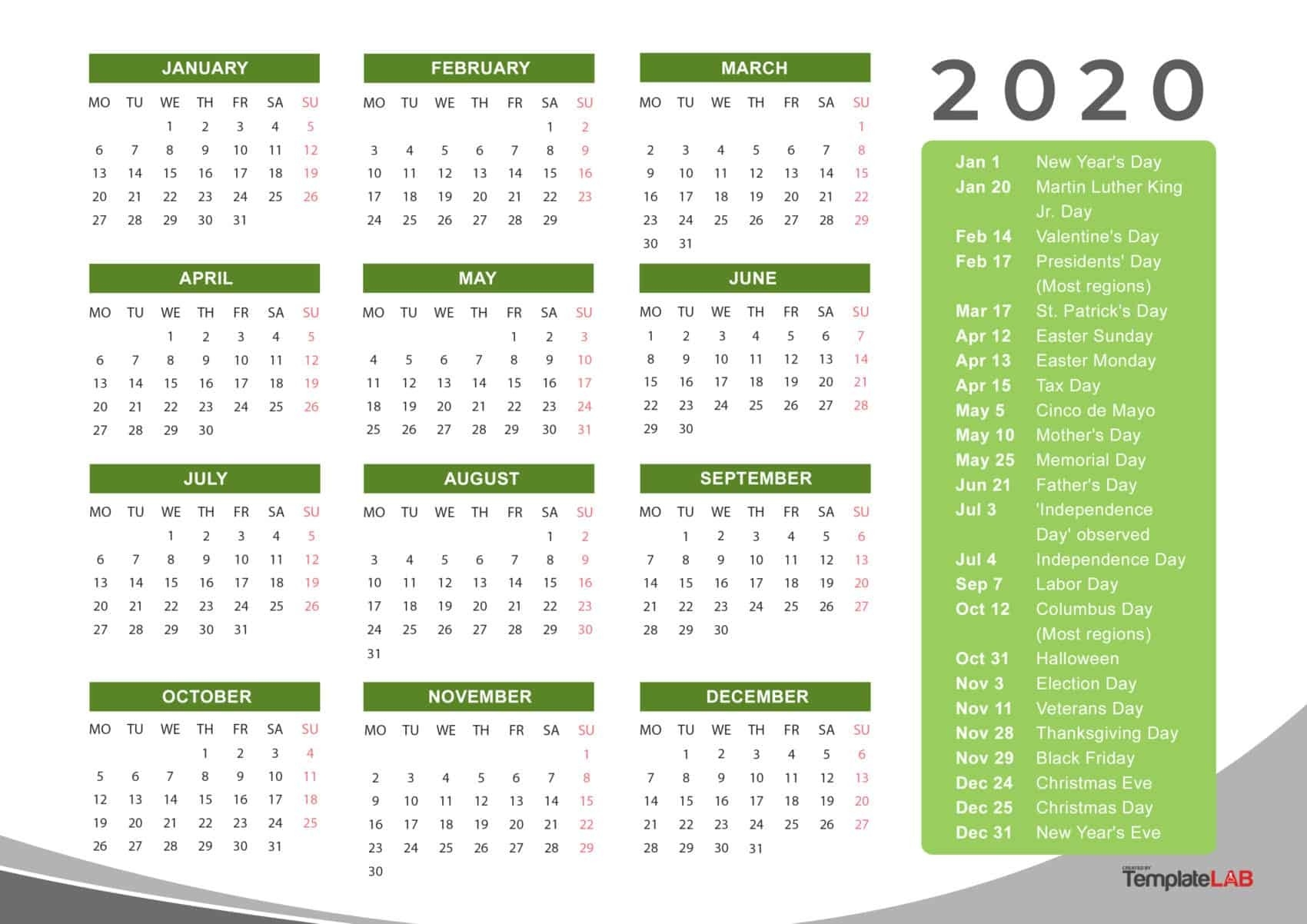 2020 Printable Calendars [Monthly, With Holidays, Yearly] ᐅ-Printable 2020 Calendar Showing Holidays