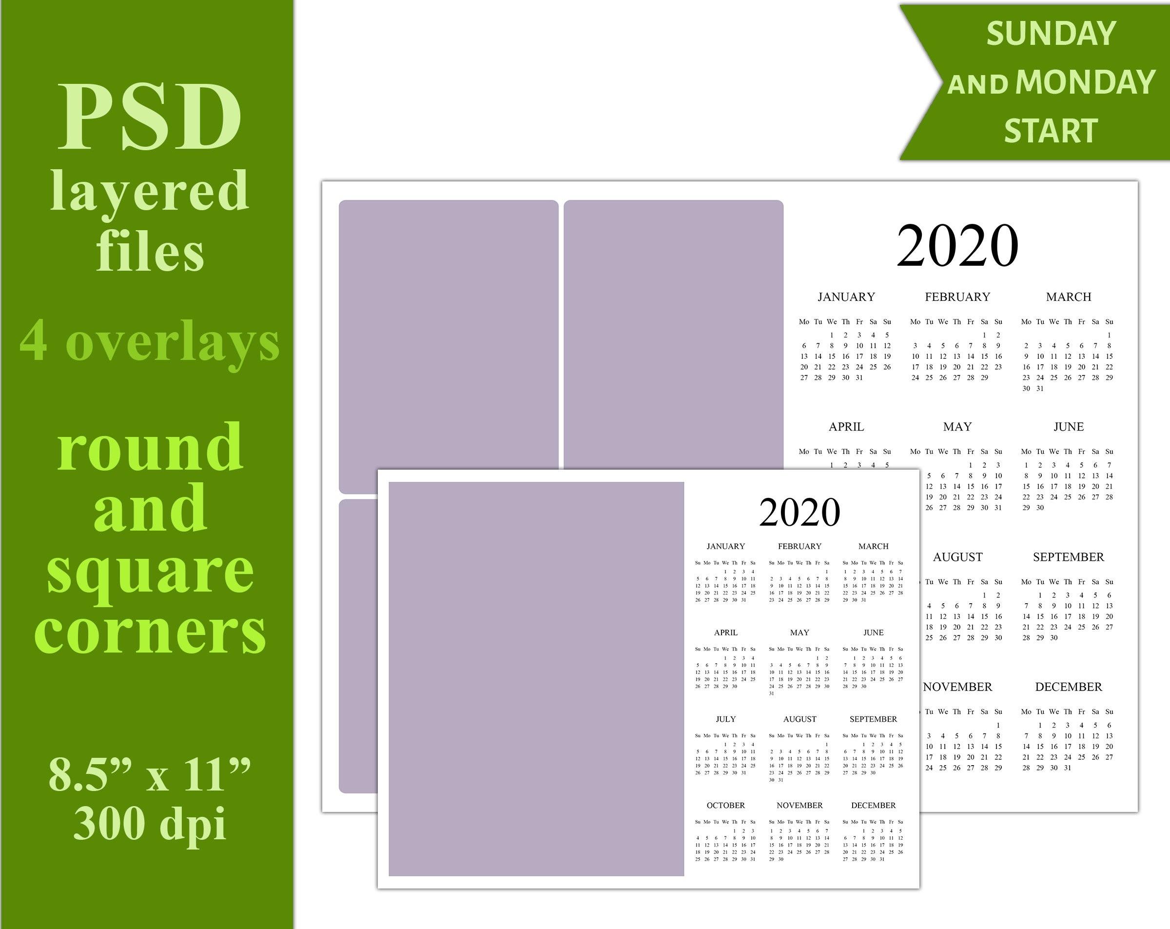 "2020 Psd Calendar Template 8.5""x11"" (C22) - Personal Or Commercial Use-8.5 X 14 Calendar Template"