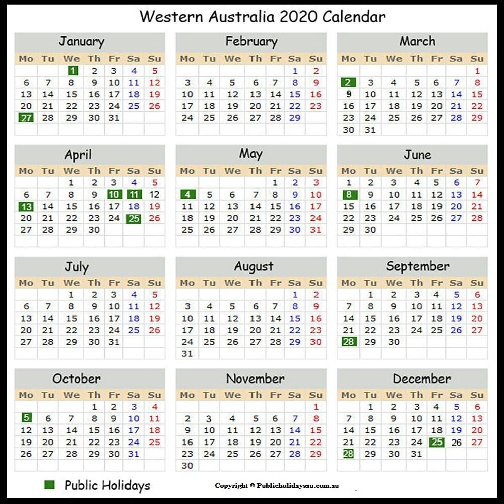 2020 Public Holidays Wa-S A Public Holidays 2020