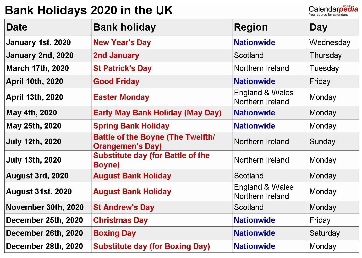 2020 Uk Bank Holidays Calendar | Bank Holiday Calendar-Printable Calendar 2020 With Bank Holidays