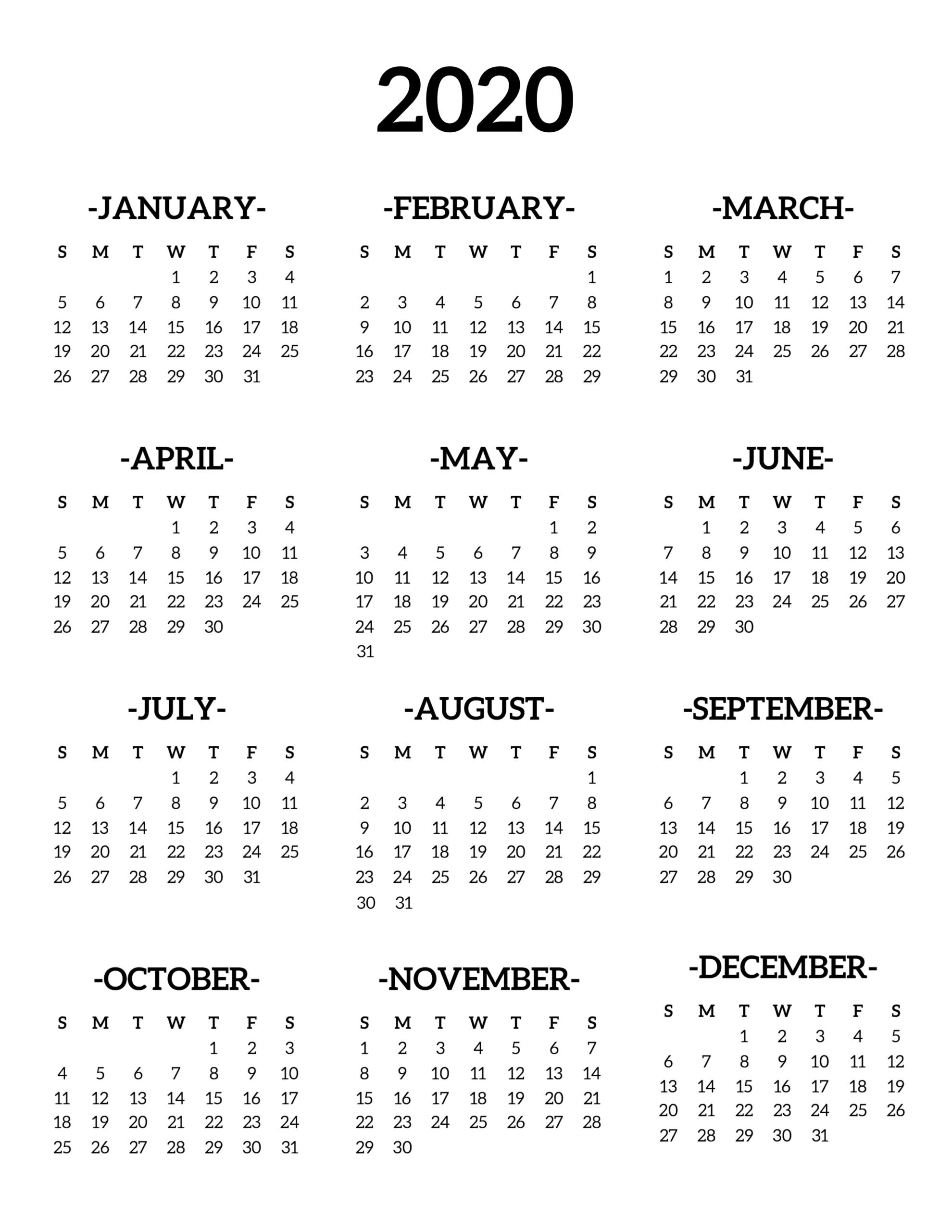 2020 Year At A Glance Printable Calendar - Wpa.wpart.co-2020 Month At A Glance Calendar Template