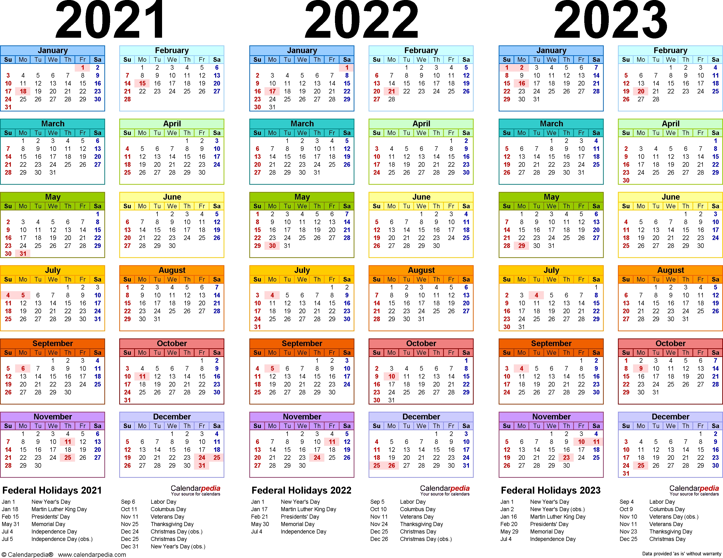 2021-2023 Three Year Calendar - Free Printable Word Templates-2020 Calendar With Holidays In Ghana