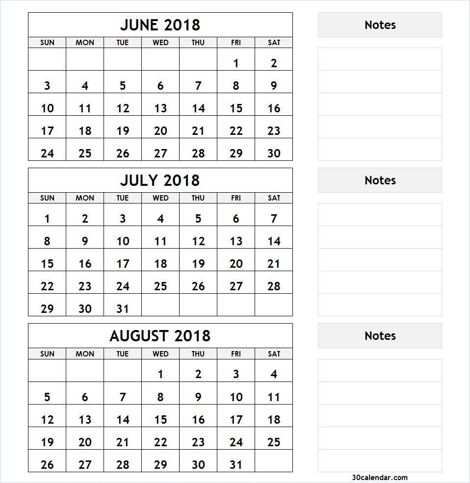 3 Month Calendar June July August 2018 | Calendar June, July-July To August Monthly Calendar