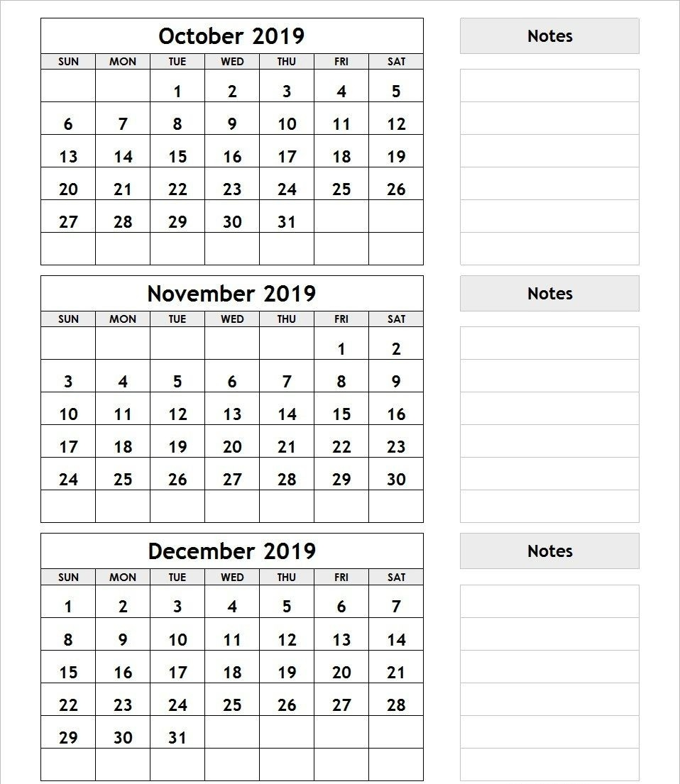 3 Month Calendar October November December 2019 | December-Blank Calendar Printable Three Months Togather