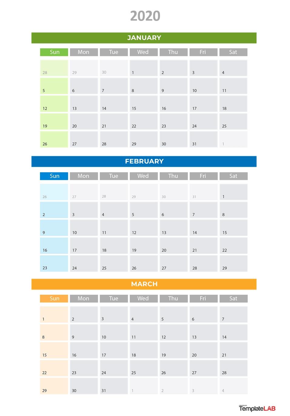 3 Month Calendar Printable 2020 - Wpa.wpart.co-Editable 3 Month Calendar Template 2020