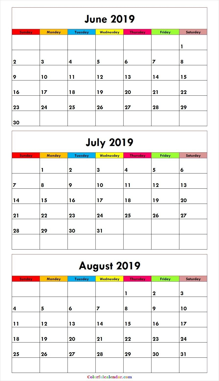 3 Month June July August 2019 Calendar Green | August-Calendar Template 3 Months Per Page Time And Date