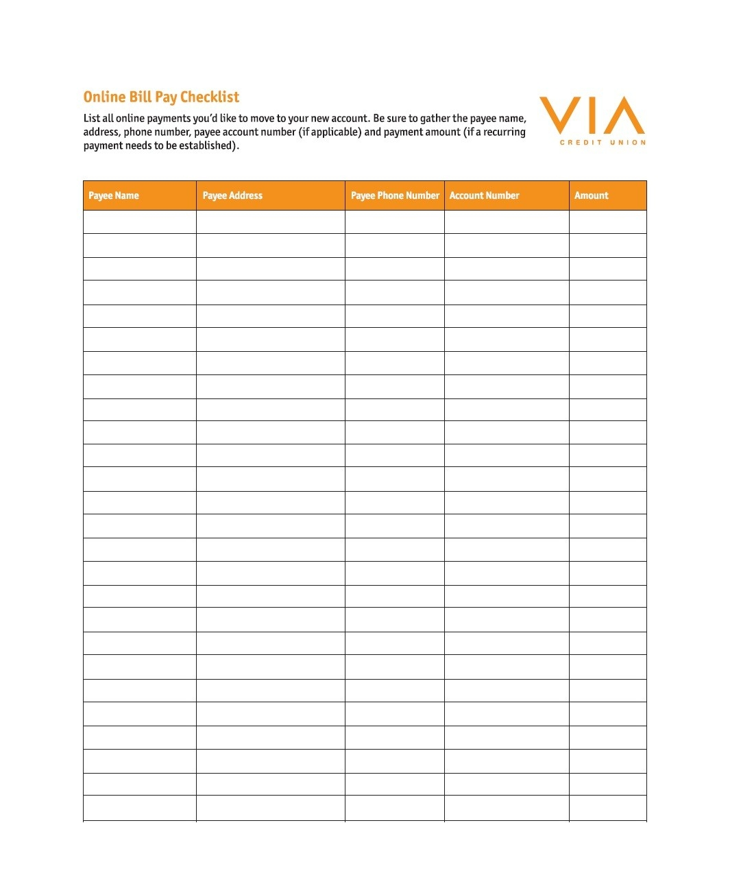 32 Free Bill Pay Checklists & Bill Calendars (Pdf, Word & Excel)-Monthly Bill List Template