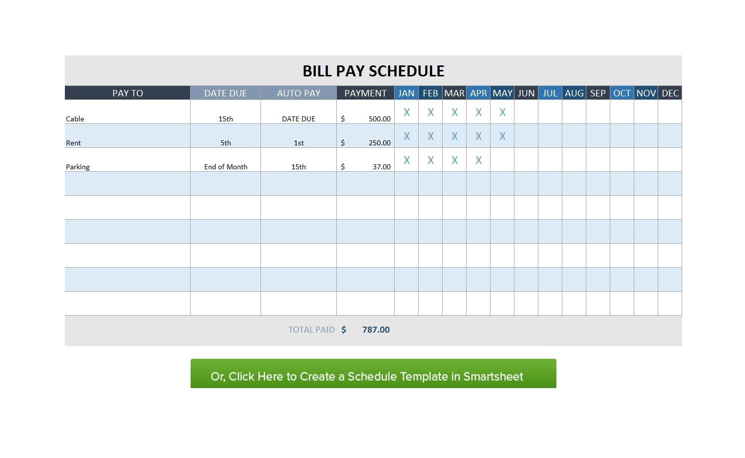 32 Free Bill Pay Checklists & Bill Calendars (Pdf, Word & Excel)-Monthly Bill Schedule Template