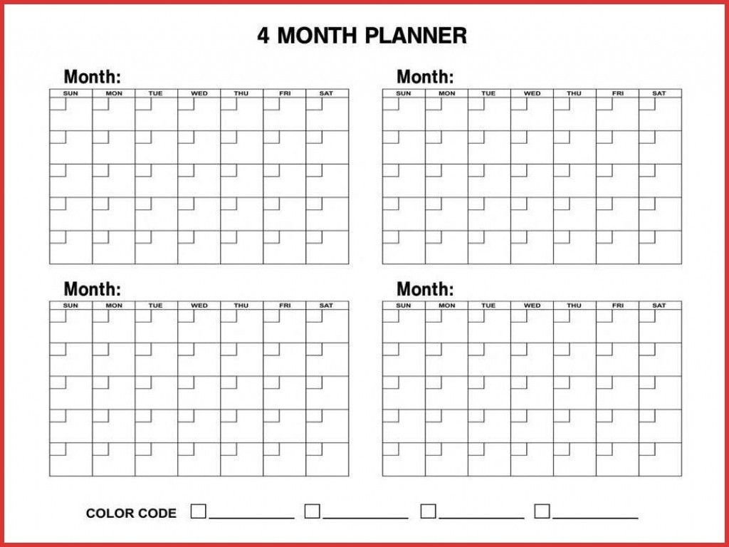 4 Month Blank Calendar - Wpa.wpart.co-4 Month Blank Calander