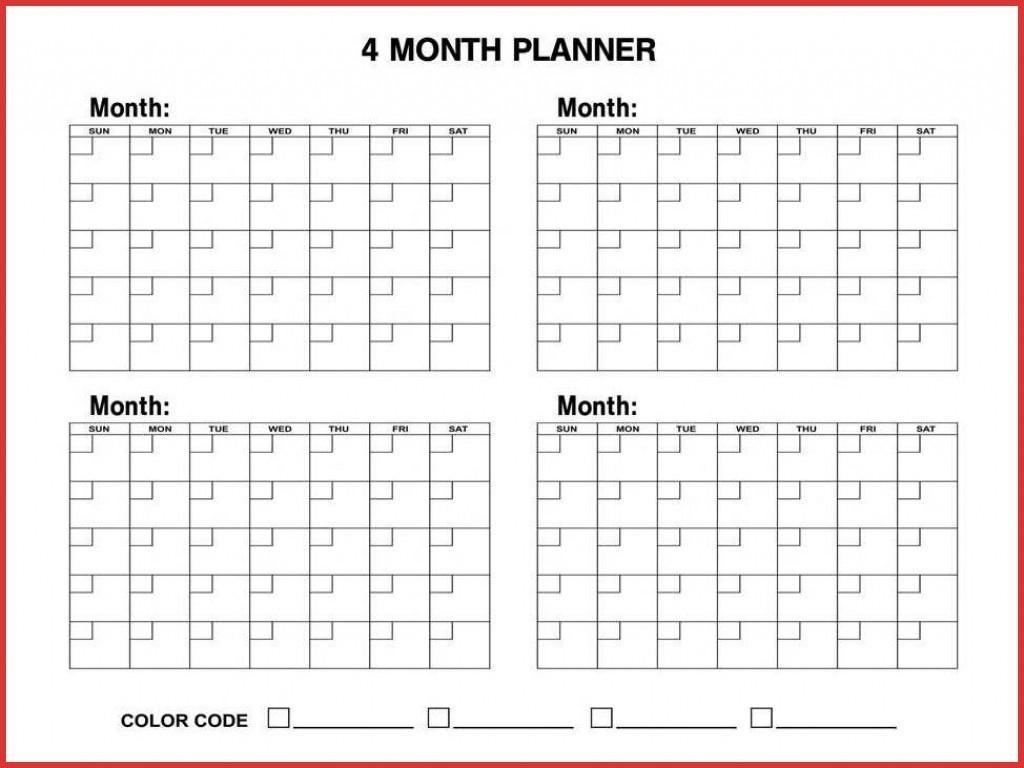 4 Month Blank Calendar - Wpa.wpart.co-Blank 4 Month Calendar