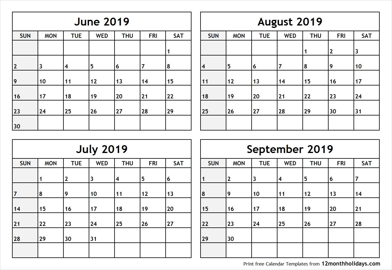 4 Month Blank Calendar - Wpa.wpart.co-Printable Blank Four Month Calendar