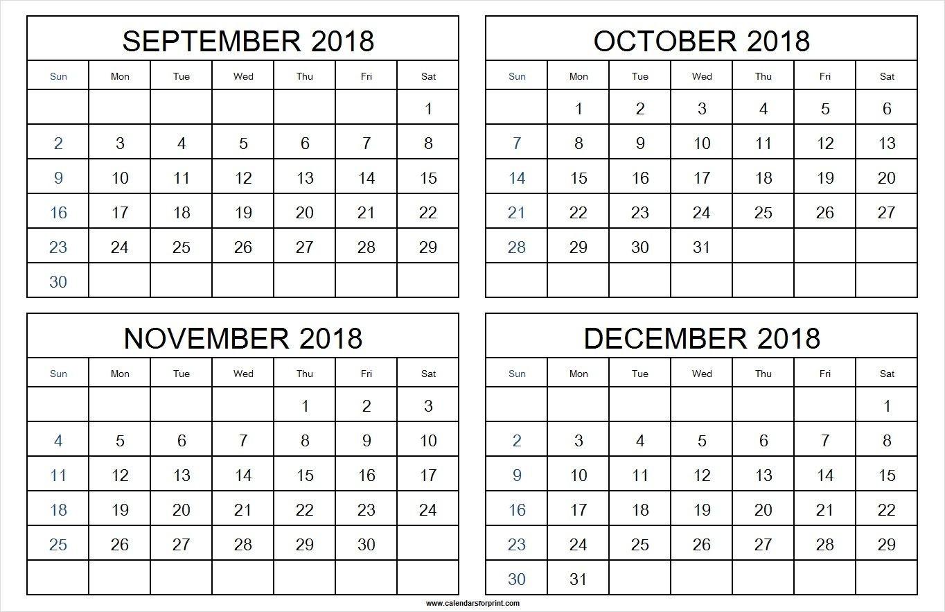 4 Month Calendar For September To December 2018 | April 2019-4 Month Calendar Template