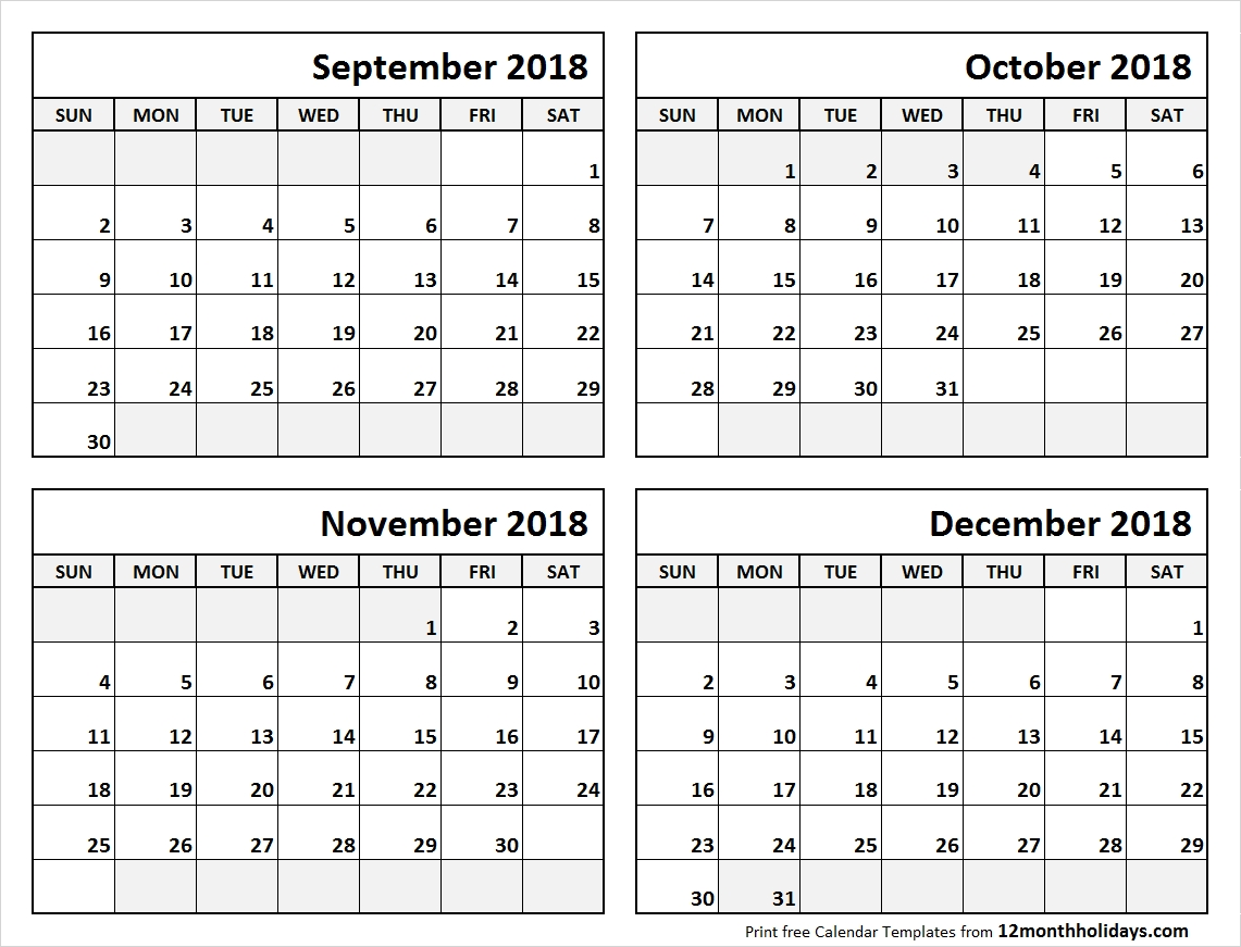 4 Month Calendar September To December 2018 | Blank Calendar-4 Month Blank Calendar Printable