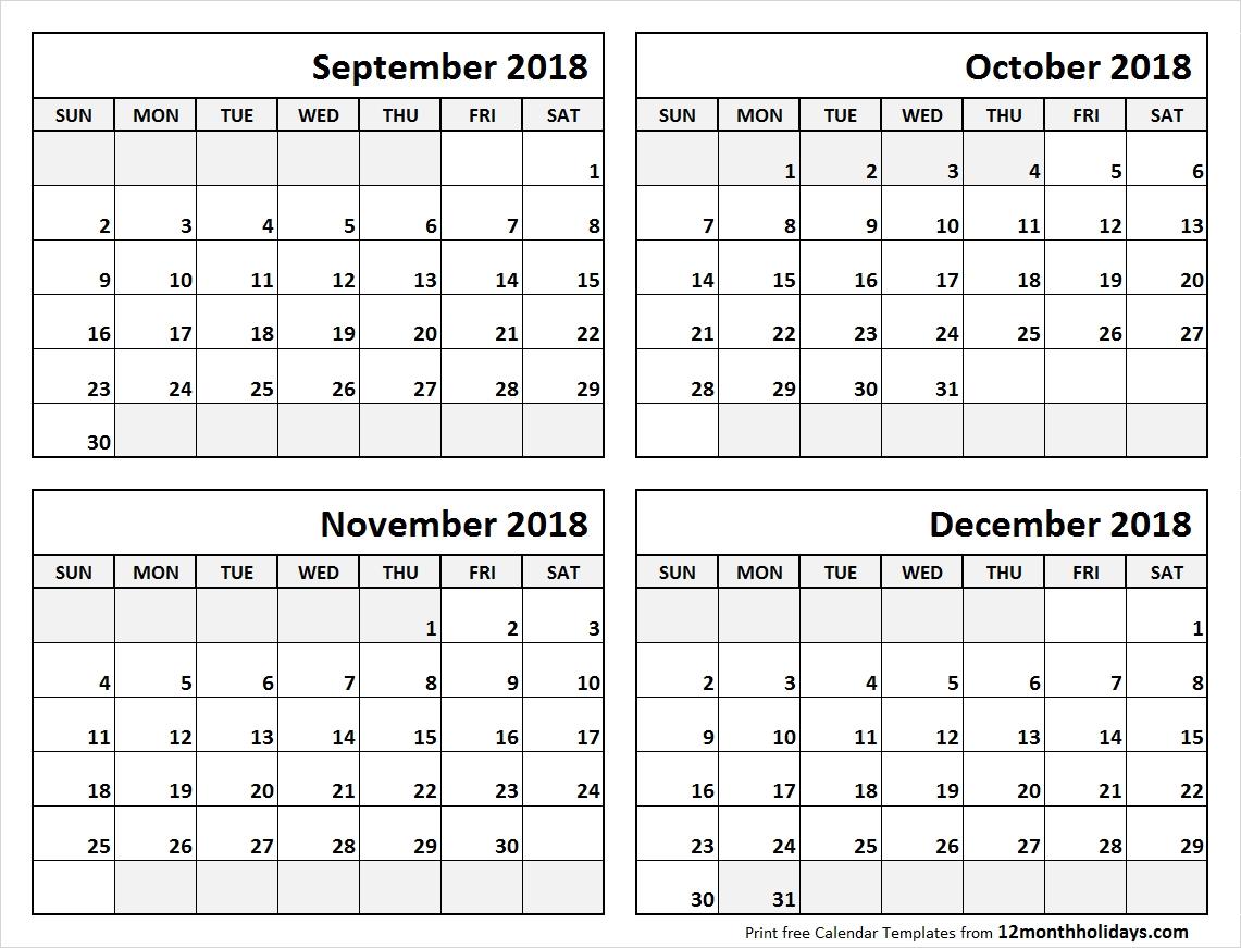 4 Month Calendar September To December 2018 | Blank Calendar-Printable Blank Four Month Calendar