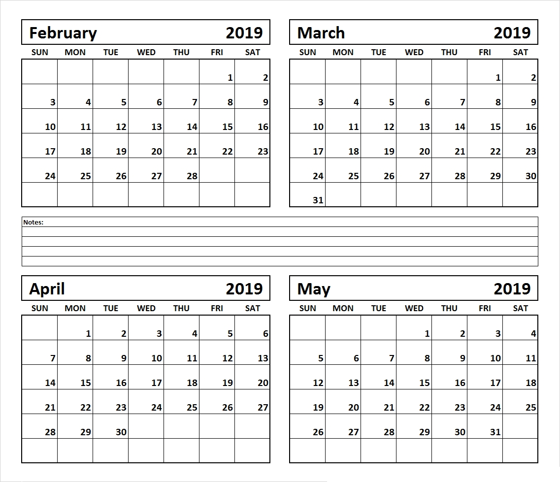 4 Month February March April May 2019 Calendar #march #april-4 Month Blank Calendar Printable