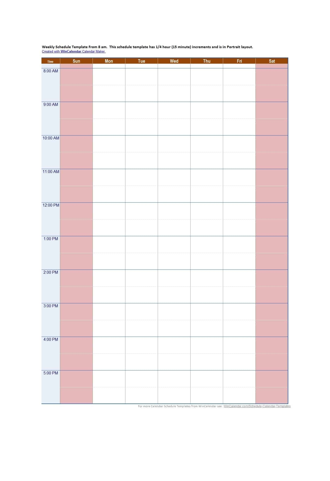 43 Effective Hourly Schedule Templates (Excel & Ms Word) ᐅ-Calender Templates Printable Hourly