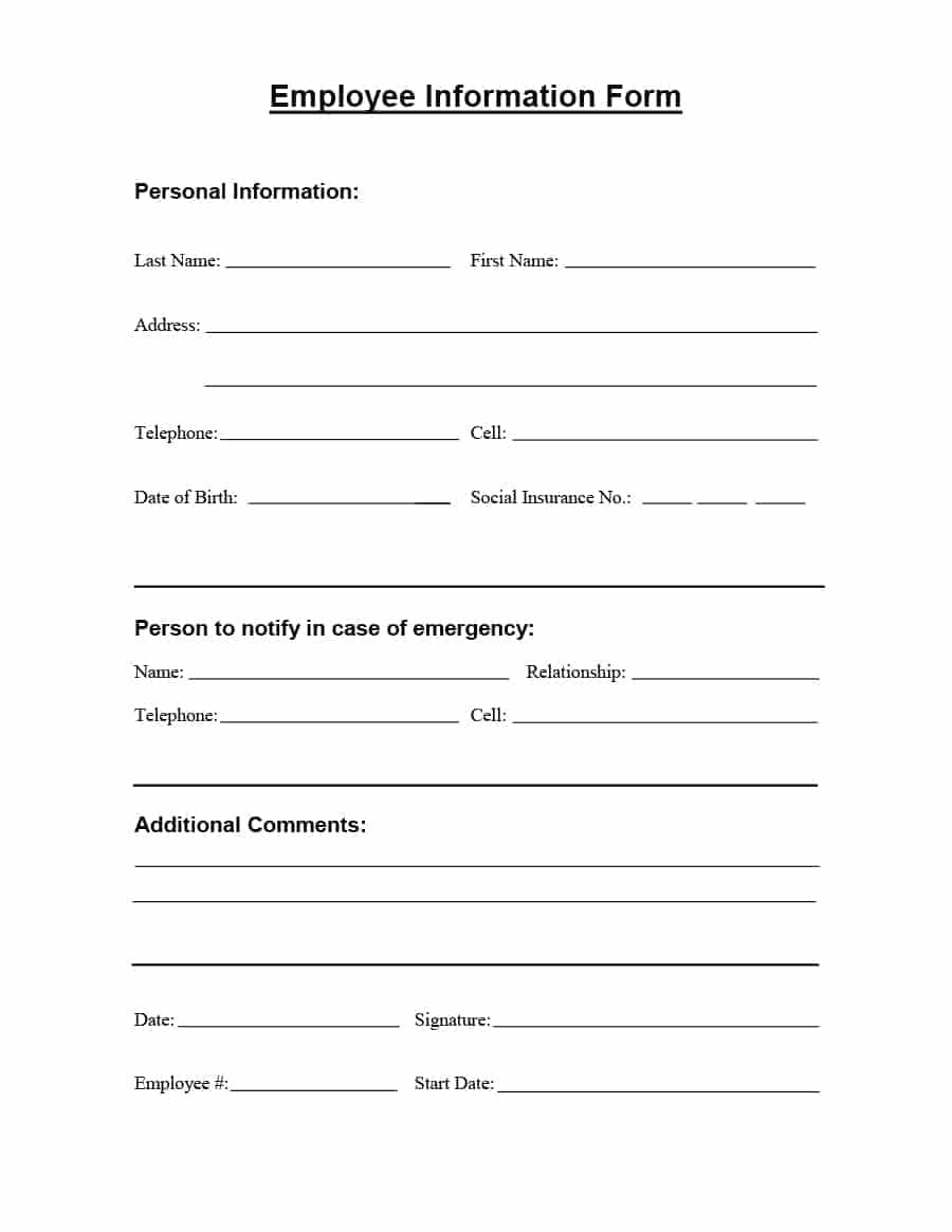 47 Printable Employee Information Forms (Personnel-Print Blank I 9 Form