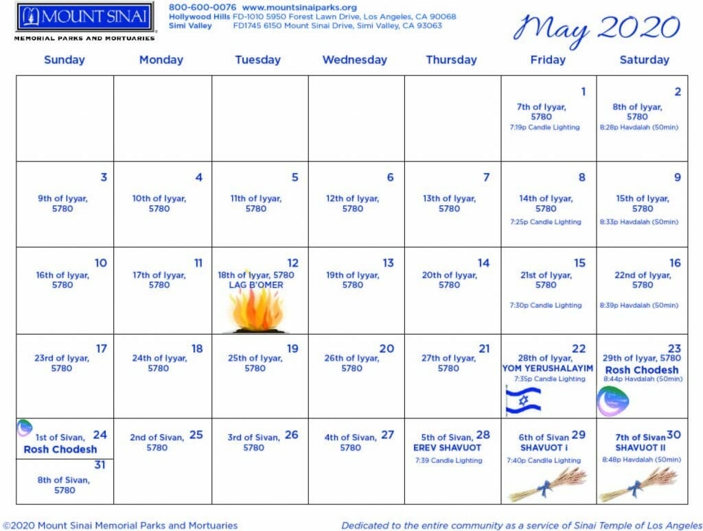 5780 Hebrew Calendar - Mount Sinai Memorial Parks And Mortuaries-Jewish Holidays 2020 Dates