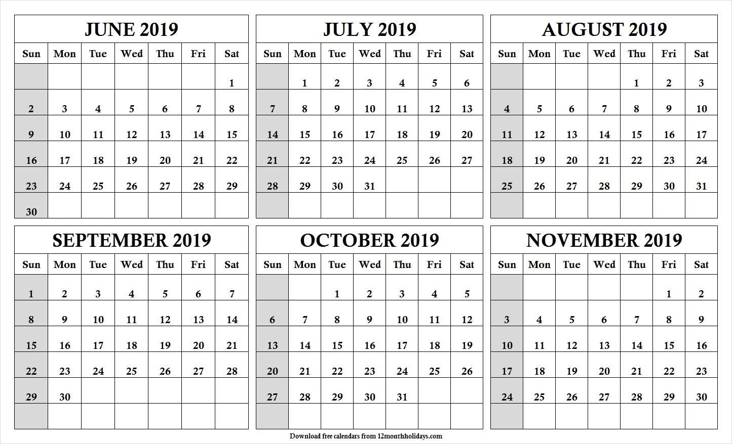 6 Month Calendar June To November 2019 Template | Cute Month-Blank Calendar 6 Months