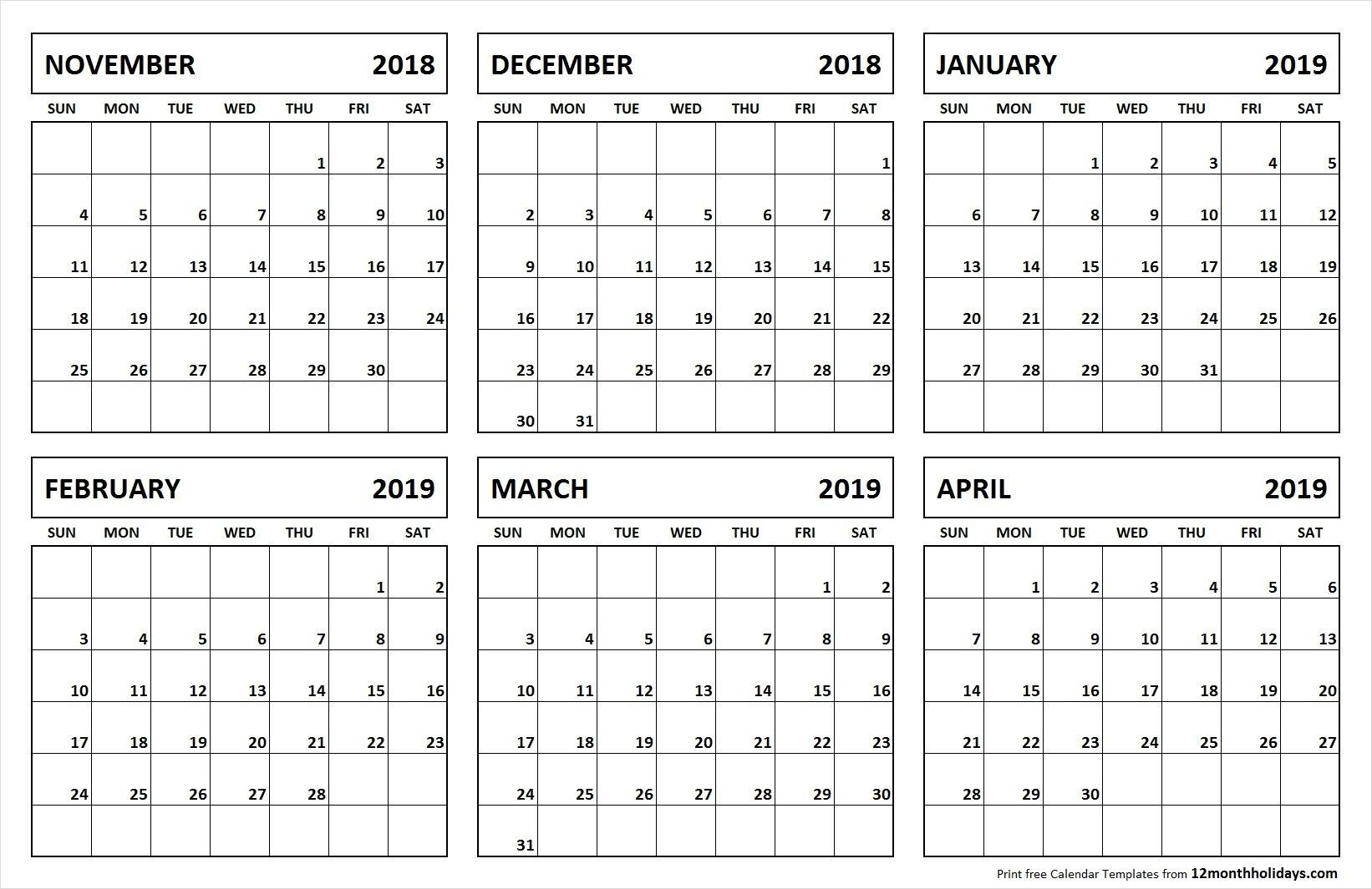 6 Month Calendar November 2018 April 2019 | Calendar March-Blank Calendar 6 Months