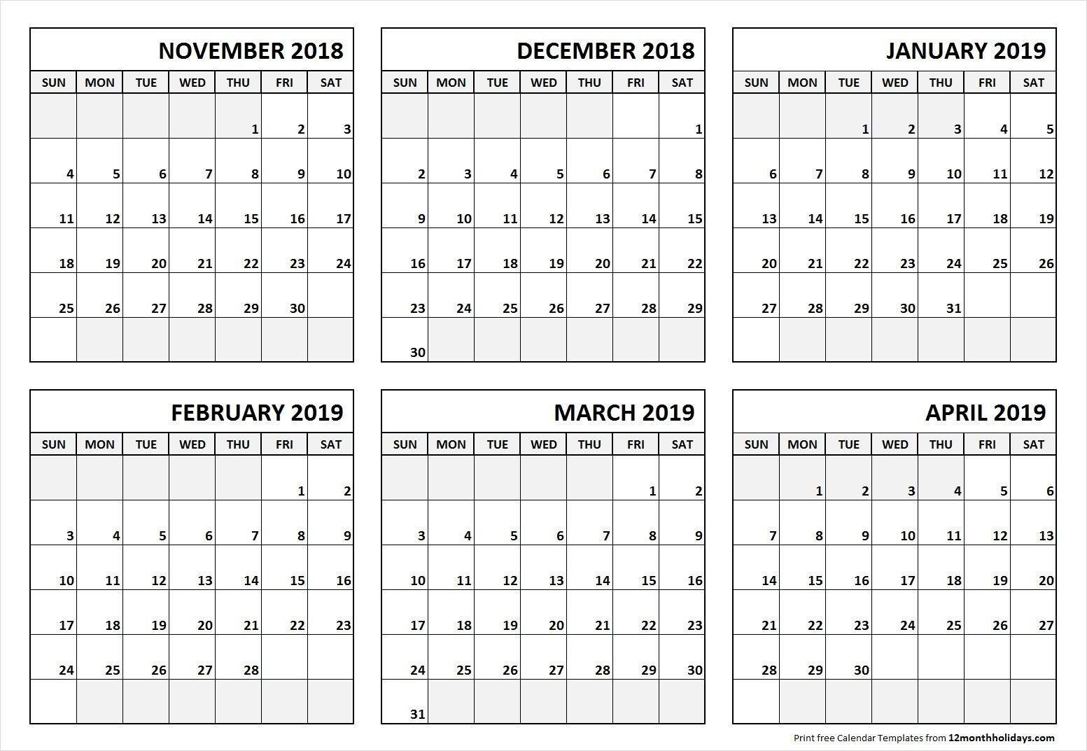 6 Month Calendar November 2018 To April 2019-Blank 6-Month Calendar Template