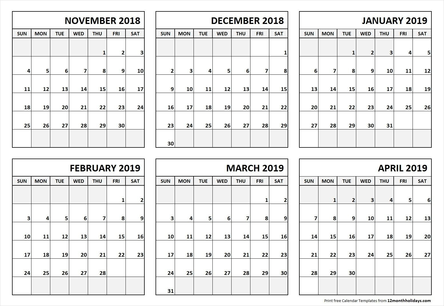6 Month Calendar November 2018 To April 2019-Blank Six Month Calendar Printable