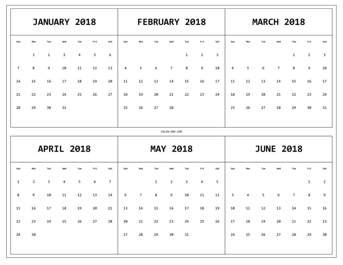 6 Month One Page Printable Calendar 2018 | 12 Month Calendar-6 Months On One Page Template