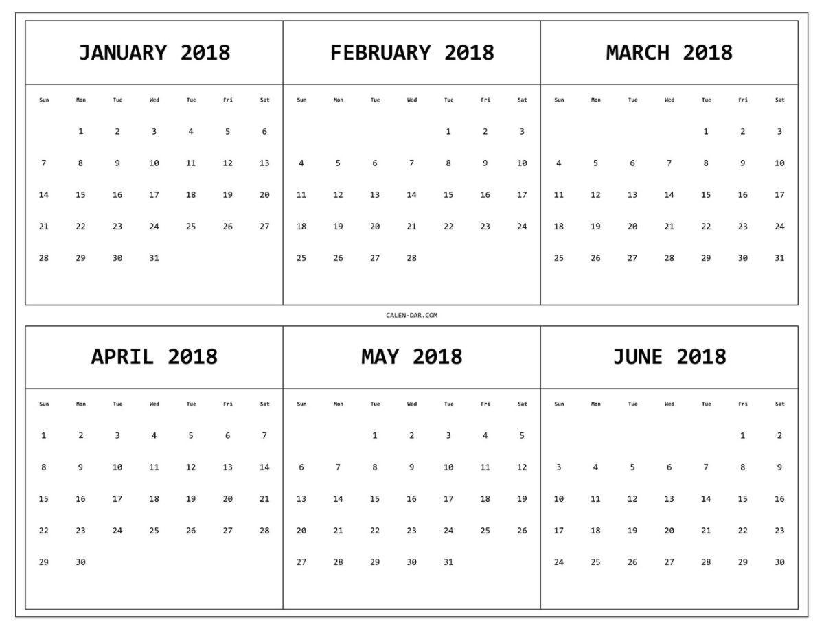 6 Month One Page Printable Calendar 2018 | 12 Month Calendar-Blank Calendar 6 Months
