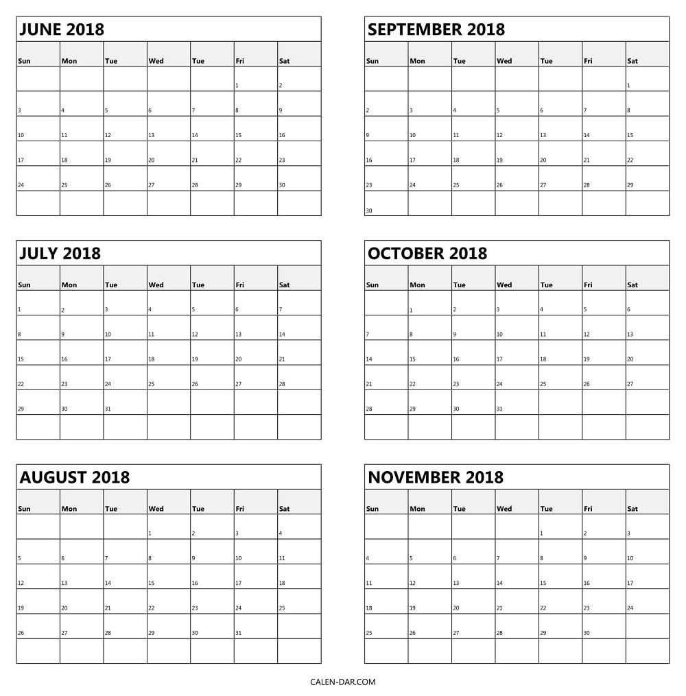 6 Monthly Calendar 2018 June To November Template | Calendar-Blank 6-Month Calendar Template