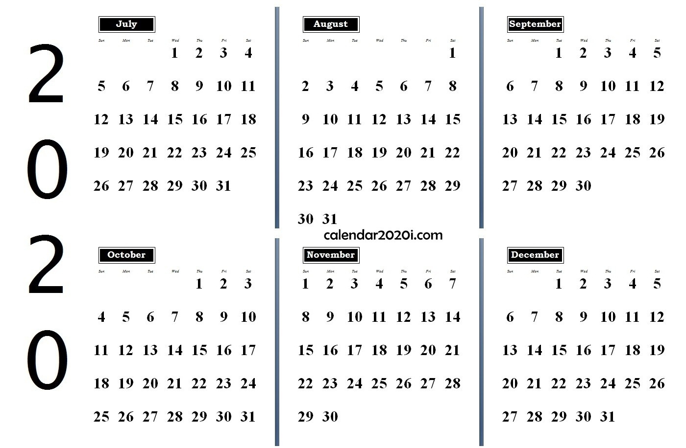 6 Months 2020 Half Year Printable Calendar | Calendar 2020-6 Months On One Page Template