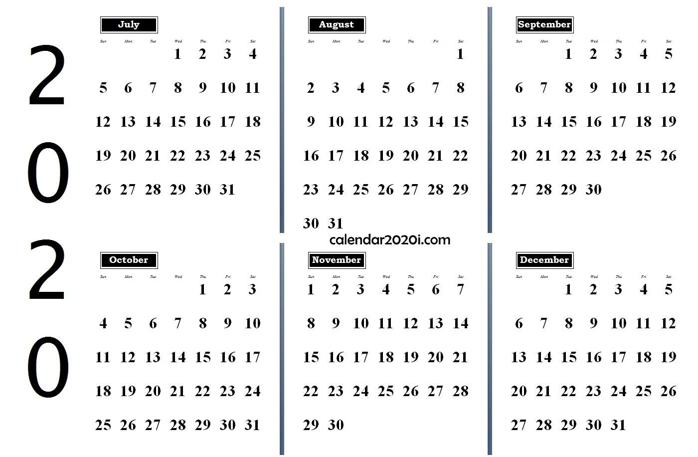 6 Months 2020 Half Year Printable Calendar | Calendar 2020-Blank 3 Month Calendar 2020 Printable