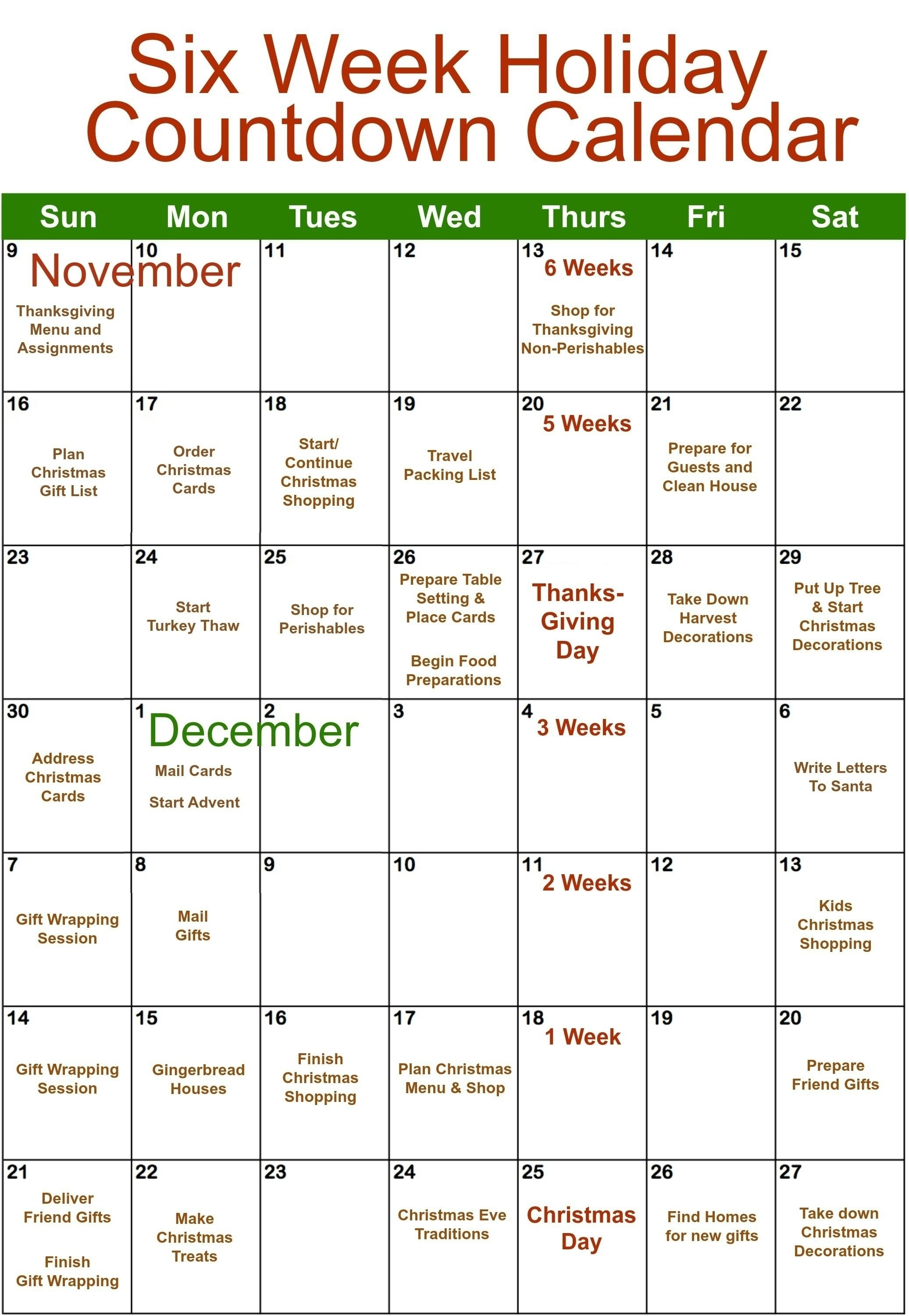 6 Week Countdown Calendar | One Page Calendar Printable-Microsoft Template Calendar Coundown