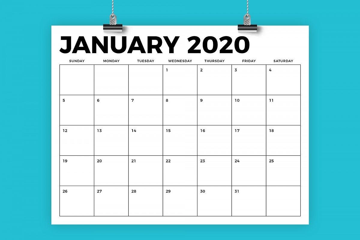 8.5 X 11 Inch Bold 2020 Calendar-8.5 X 14 Calendar Template