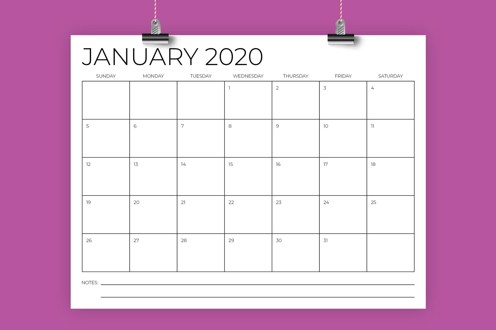 8.5 X 11 Inch Minimal 2020 Calendar-8.5 X 14 Calendar Template