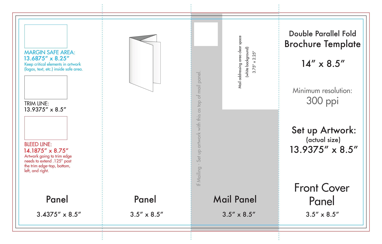 "8.5"" X 14"" Double Parallel Brochure Template - U.s. Press-8.5 X 14 Calendar Template"