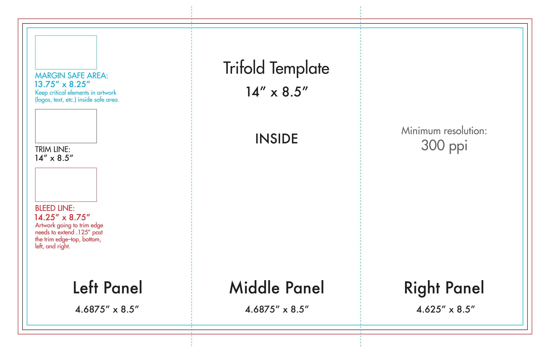 "8.5"" X 14"" Tri Fold Brochure Template - U.s. Press-8.5 X 14 Calendar Template"