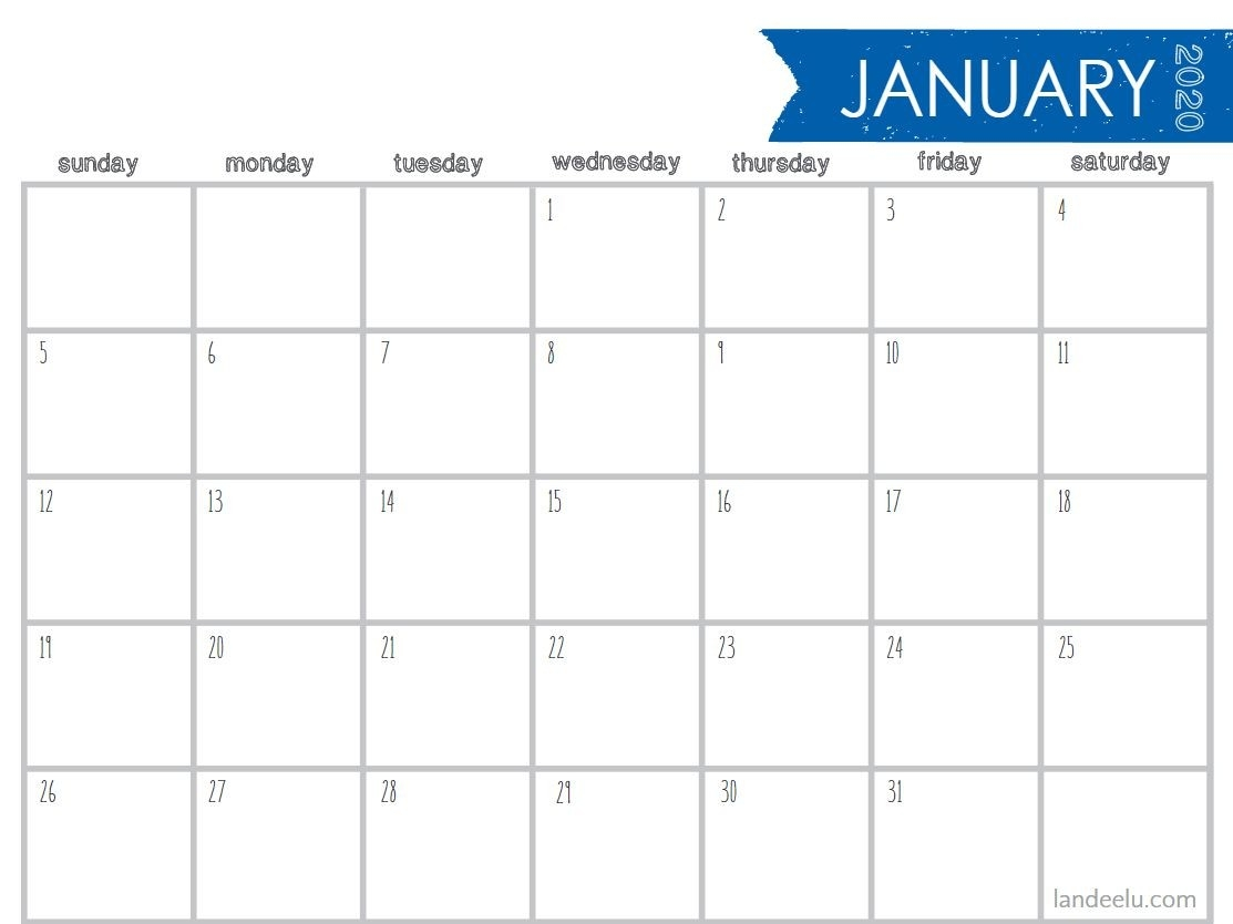 8 Stylish Free, Printable Calendars For 2020-8 X 10 Prinable Blank Monthly Calendar