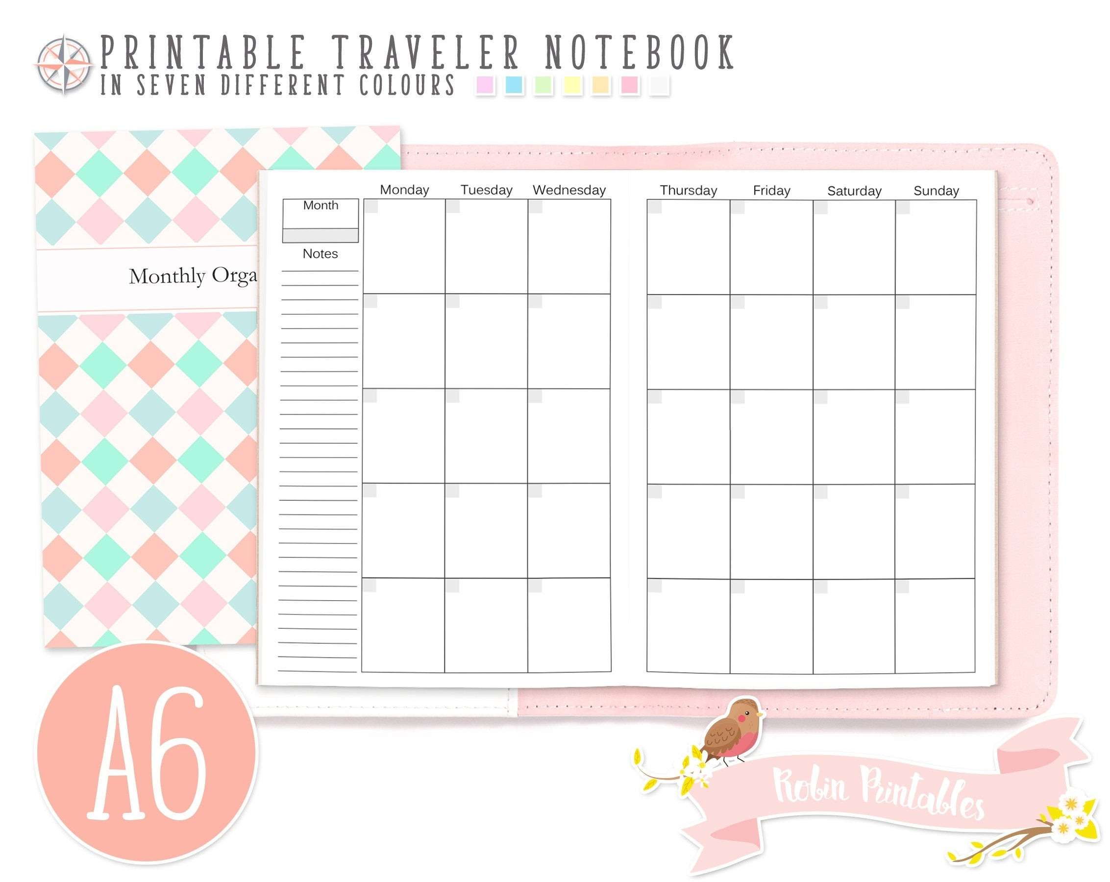 A6 Monthly Organizer Traveler Notebook Refill 4 X 6 Printable Tn Pdf  Download For Personal Use Month Planner, Schedule, Monthly Plan Inserts-4X6 Monthly Printable Planner Calendar