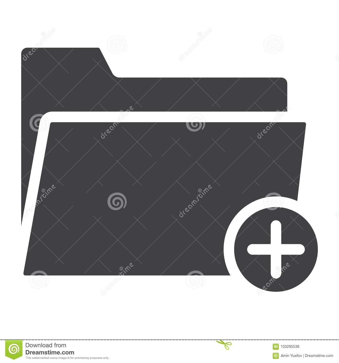 Add Folder Glyph Icon, Web And Mobile, Add File Stock Vector-Glyphicon Icon Is Blank