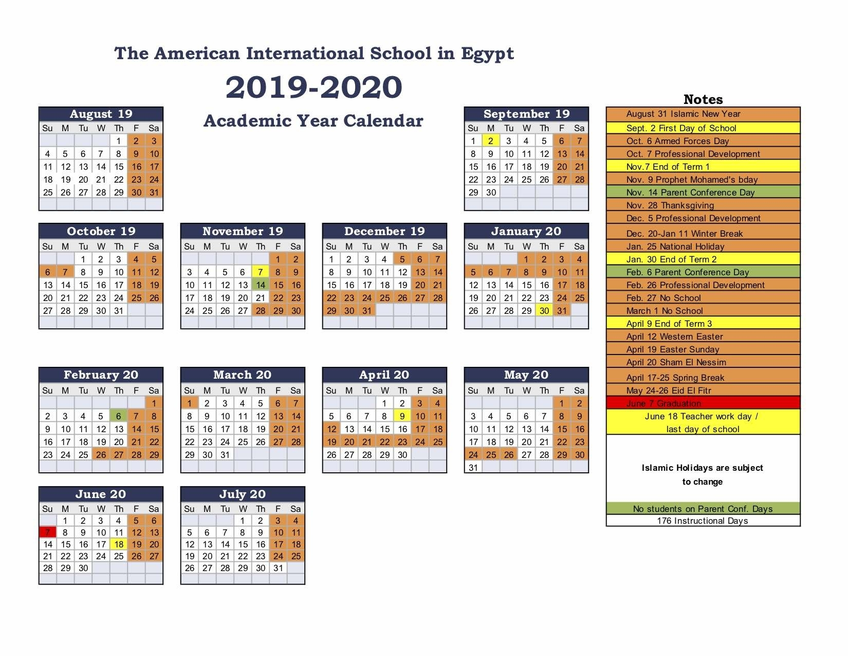 American International School Of Egypt: School Calendar-America School Holidays 2020 Calendar