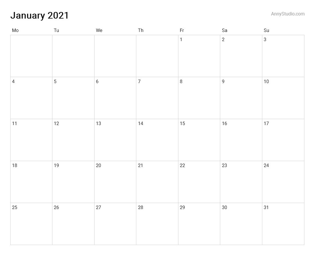 Anny Studio-Blank Qld Calendar 2020